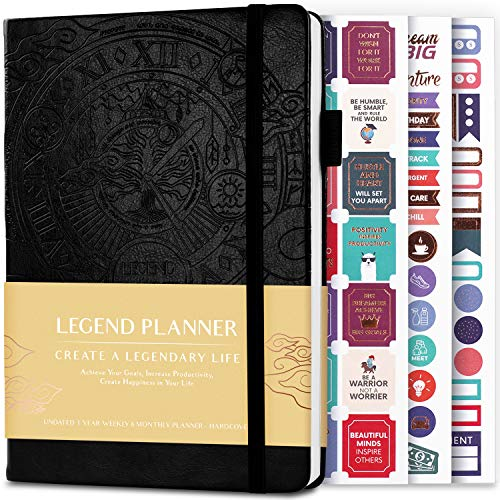 Legend Planner – Deluxe Weekly & Monthly Life Planner to Hit Your Goals & Live Happier. Organizer Notebook & Productivity Journal. A5 Hardcover, Undated – Start Any Time + Stickers – Black