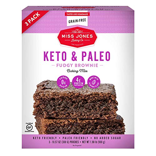Miss Jones Baking Keto Brownie Mix - Gluten Free, Low Carb, No Sugar Added - Diabetic, Atkins, WW, and Paleo Friendly (3 Count Case)