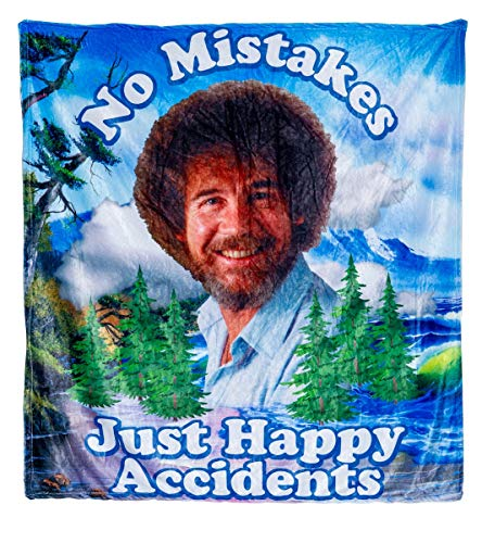 Calhoun Officially Licensed Bob Ross No Mistakes Just Happy Accidents Plush Throw Blanket