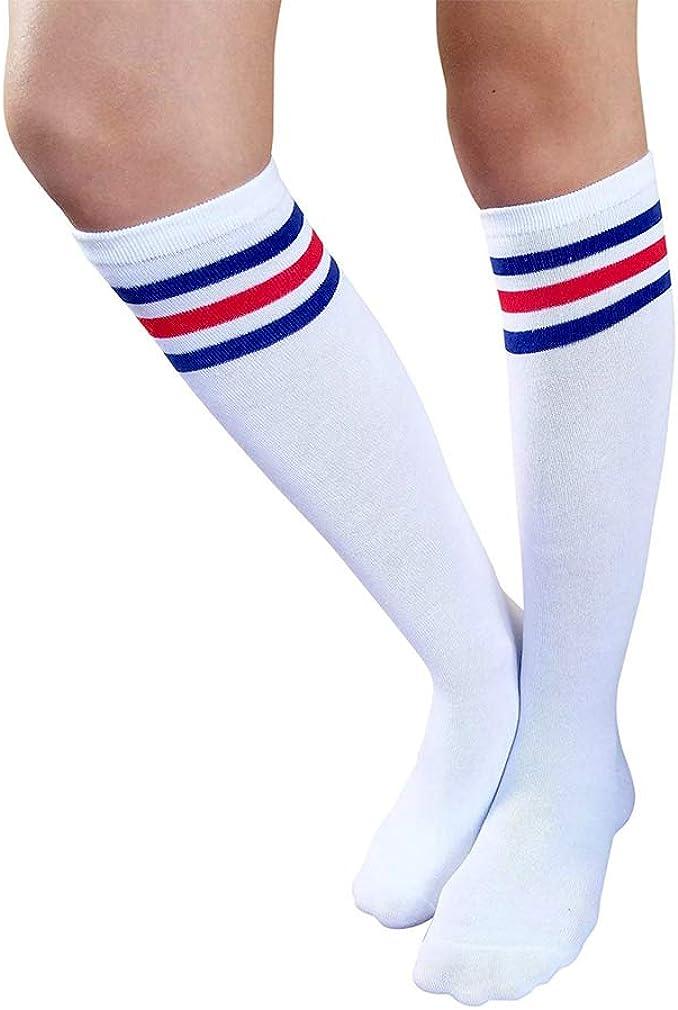 Taigood Women's Knee High Socks Classic Triple Stripes Tube Socks Soft Cotton All Season Socks
