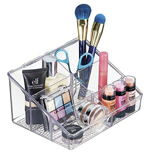 mDesign Organizador de cosméticos Transparente – Caja para Maquillaje biselada con 6 Compartimentos – Ideal para Productos de Belleza de Diferentes tamaños