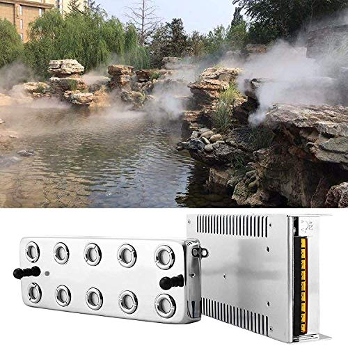 Popsport Mist Maker Fogger 10 Head Ultrasonic Mist Humidifier 110V Mist Maker Fogger Humidifier with Transformer for Gardening and Pond Use (Mist Maker)