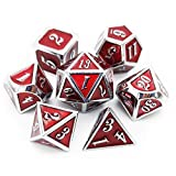 Haxtec 7PCS Metal Dice Set DND Dice for Dungeons and Dragons RPG Games-Glossy Enamel Dice (Silver Red)
