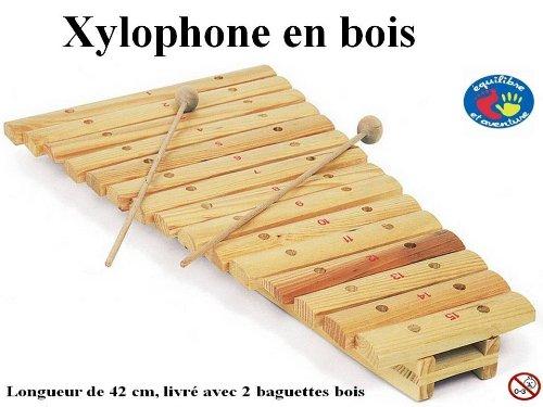 Xylophone en bois avec baguettes, 42 x 23 cm