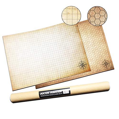 Dungeon Grid Game Mat | UNENTBHRLICHES Rollenspiele – Kriegsspiele - Brettspiele Accesorie | KOMPATIBEL mit D&D, Pathfinder und Warhammer | Wiederverwendbare, NACHHALTIGE und TRAGBAREN (Duo-Pack)