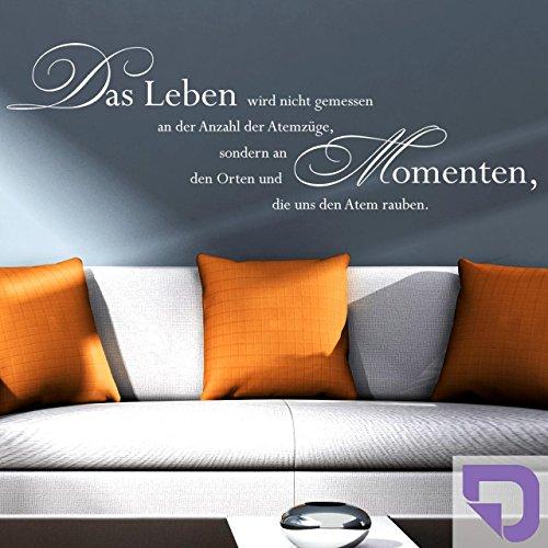 DESIGNSCAPE® Wandtattoo Das Leben wird nicht gemessen... | Spruch Leben | Lebensweisheiten | 180 x 57 cm (Breite x Höhe) lavendel DW801084-L-F18