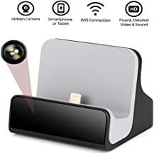 Hidden Camera Charger Dock for iPhone WiFi Live View Spy Cam with Motion Detection for Office Home Security (iOS iPhone Charger Dock )