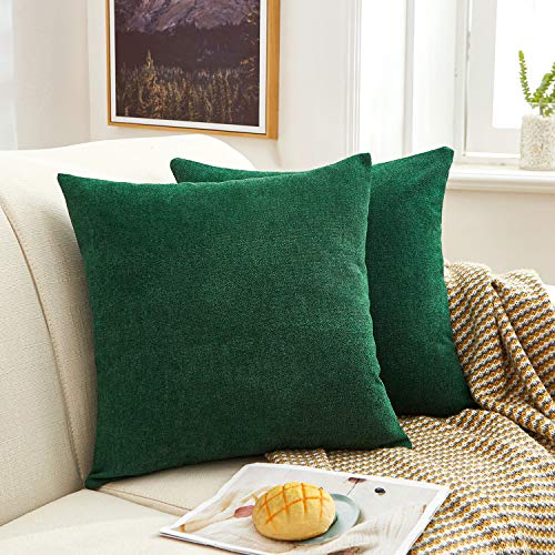 MERNETTE Pack of 2, Thick Chenille Decorative Square Throw Pillow Cover Cushion Covers Pillowcase, Home Decor Decorations For Sofa Couch Bed Chair 18x18 Inch/45x45 cm (Dark Green)