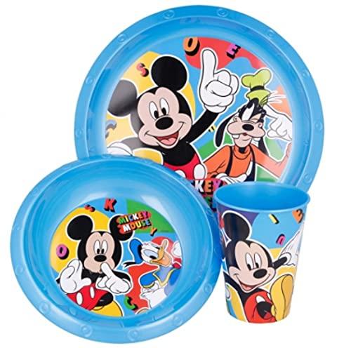 Set Stoviglie Servizio da Tavola per Bambini 3 Pezzi con Piatto, Ciotola e Bicchiere Easy 260 ml in confezione regalo (Mickey Topolino Cool Summer)