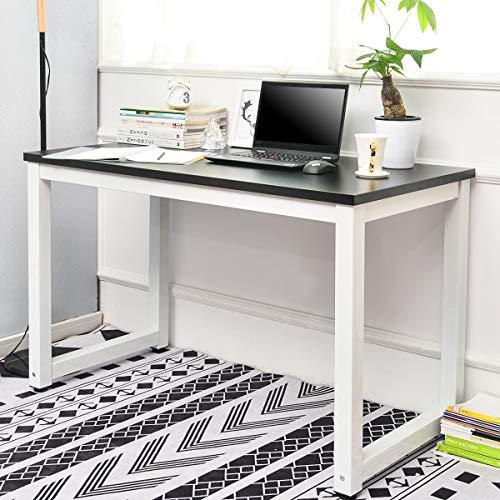 Pannow Escritorio de ordenador, moderno y sencillo, para ordenador portátil, mesa de estudio, estación de trabajo, oficina en casa, mesa de escritura para espacio pequeño, color negro