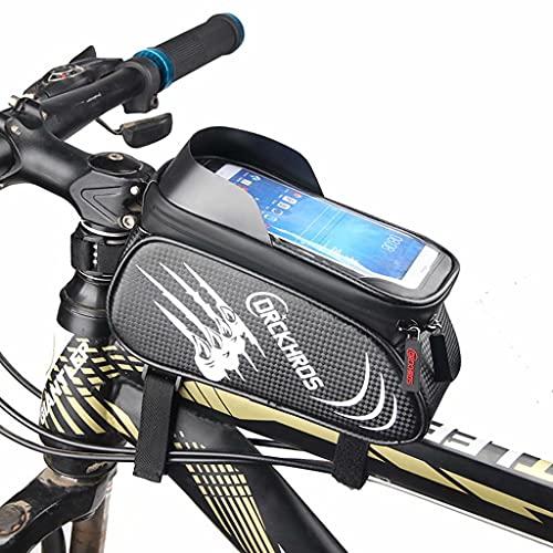 YZX Bolsa Bici, Bolsa de viga Delantera para Montar en Bicicleta de montaña/Carretera, Bicicleta al Aire Libre Deportes Pantalla táctil Bolsa de sillín de sombreado Impermeable,Blanco