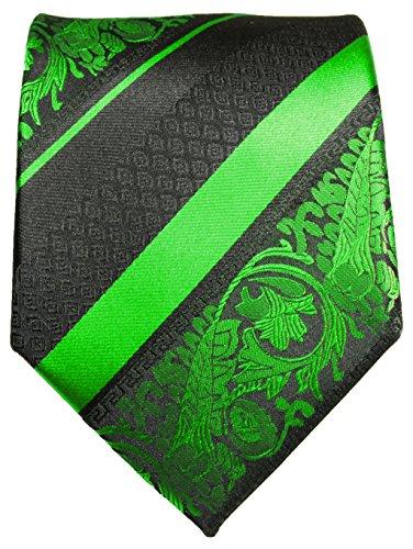 Cravate vert noir rayée ensemble de cravate 3 Pièces (100% Soie Cravate + Mouchoir + Boutons de manchette)