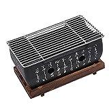 Barbacoa estilo japonés, horno portátil de carbón japonés con rejilla de alambre y base para Yakiniku, Robata, Yakitori, Takoyaki y BBQ