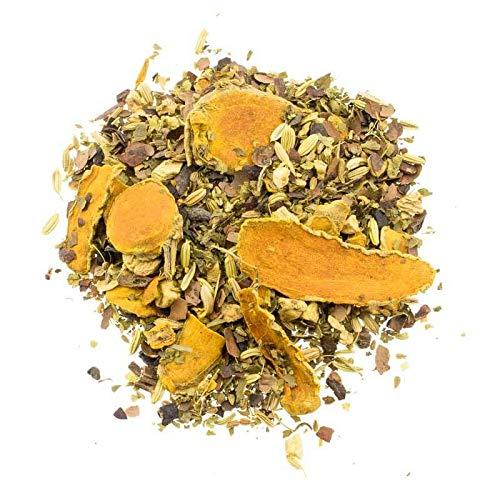 Aromas de Té - Infusión con Rodajas de Cúrcuma, Cáscara de Cacao, Trozos de Jengibre, Anís, Hinojo, Hojas de Mora y Vainilla en Grano, 100 gr.