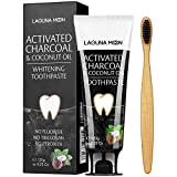 Activated Charcoal & Coconut Oil Teeth Whitening Toothpaste, 100% Natural Charcoal Toothpaste for Whitening Teeth, Removing Stains, Mint Flavor Freshen Breath, No Fluoride, No Triclosan, No Peroxide