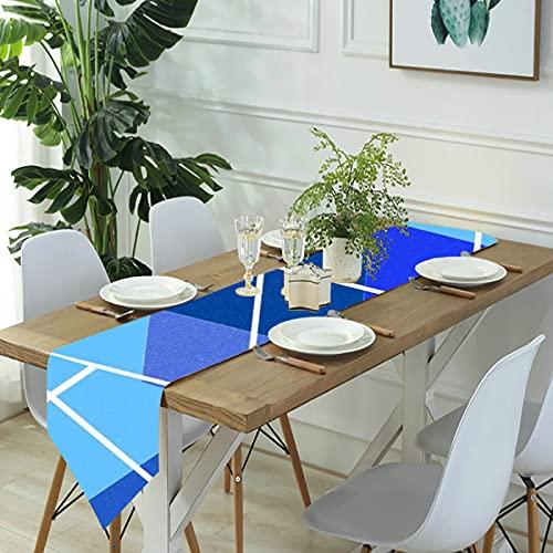 Reebos Camino de mesa de lino para aparador, a cuadros Argyle en tonos de azul, camino de mesa de cocina, para cenas de granja, fiestas de vacaciones, bodas, eventos, decoración, 33 x 70 pulgadas