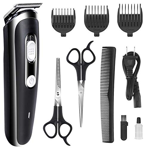 Hair Clipper for Men Professional Cordless Clippers Rechargeable Electric Hair Trimmer Beard Trimmer Kit for Kid and Adults Suitable for Home Daily Use Comes with Scissors 3 Guide Comb(Black)