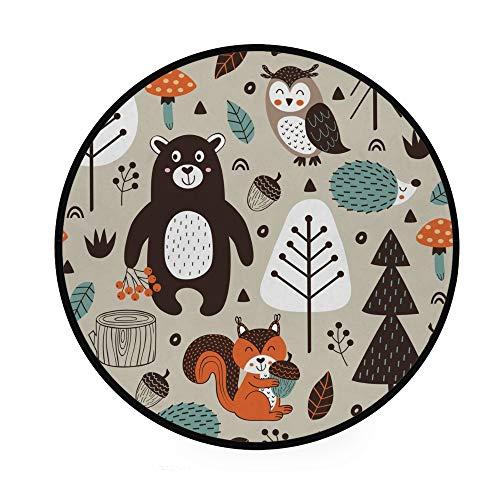 Orediy 92 cm runder Schaumstoff-Teppich, weich, Tribal Wald, Tiere, leicht, für Kinderzimmer, Spielteppich, Boden, Yogamatte für Wohnzimmer, Schlafzimmer
