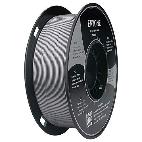 PLA Filament 1.75mm, ERYONE Filament PLA 1.75mm, 3D Printing Filament PLA for 3D Printer, 1kg 1 Spool (Silver)