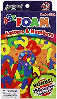 ArtSkills A2Z Foam Alphabet Letters and Numbers, Arts and Crafts Supplies, Peel-N-Stick, Assorted Colors, 228 Pieces, 150 Sparkly Stickers, Acid Free