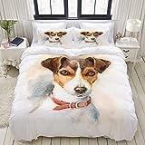 Funda nórdica, Retrato atercolor de Jack Russell Terrier para Perros, Juego de Ropa de Cama, Juegos de Fundas de edredón de poliéster Ultra cómodo y Ligero