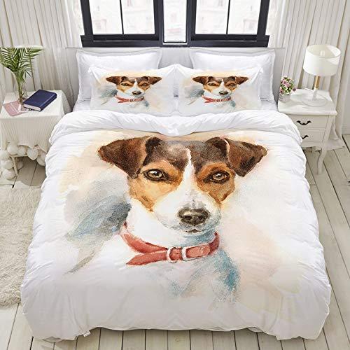 Duvet Cover,atercolor Dog Jack Russell Terrier Portrait,Bedding Set Ultra Comfy Lightweight Polyster Quilt Cover Sets