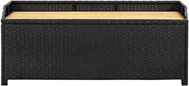 vidaXL Garden Storage Bench 120cm Poly Rattan Weather Resistant Seat Garden Toy Tool Shed Chest Container Box Patio Furniture
