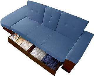 アイリスプラザ ソファベッド テーブル付き たっぷり収納 スツール オットマン(脚掛け) 3人掛け STSB-2110 ブルー 140×77×76cm