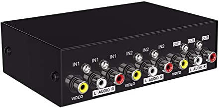 AuviPal 2-Way RCA Switcher 2 in 1 Out Composite Video L/R Audio AV Selector Box for DVD VCR VHS/AV Receiver/Game Consoles