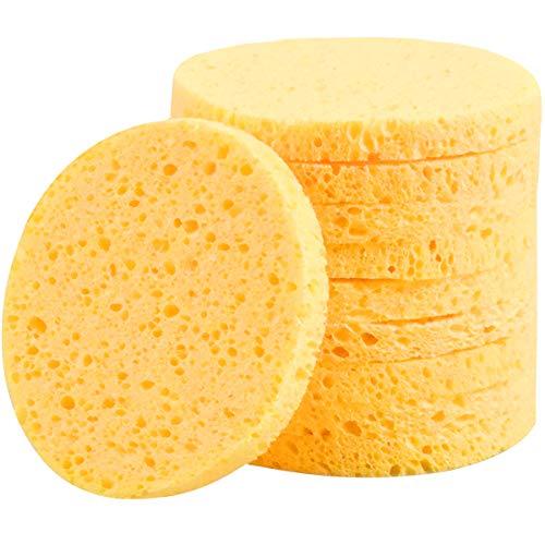 NATUCE 10 Piezas Esponjas Desmaquillantes Faciales, Esponjas Desmaquillantes Reutilizables, 8 * 8CM (Redondo, Amarillo) (10Pcs)