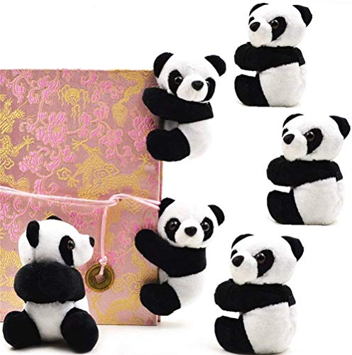 SUSHAFEN 6Pcs Finger Panda Plush Panda Clips Curtain Holder Stand Note Clip Photo Holder Stand Chinese Style Souvenir Cute Panda Plush Toy Finger Kids Toy,Home Decoration Plant Pots Bonsai Craft Decor