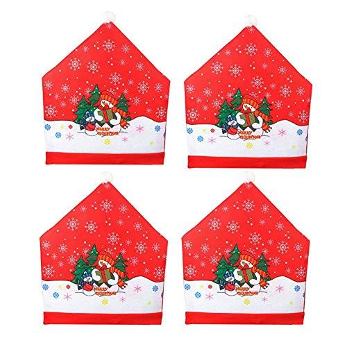 popchilli Fundas para Sillas De Santa Claus, 4 PCS Muñeco De Nieve De Red Hat Trasero De La Silla Tejida Cubre Trasero De La Silla De La Cubierta No Establece Cena De Navidad De Las Enhanced