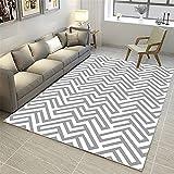 La alfombras Alfombra niño Alfombra de Sala de Estar geométrica Abstracta Blanca Gris Alfombra Antideslizante balcón Decoraciones para Habitaciones Alfombra Verano Salon 100*160cm
