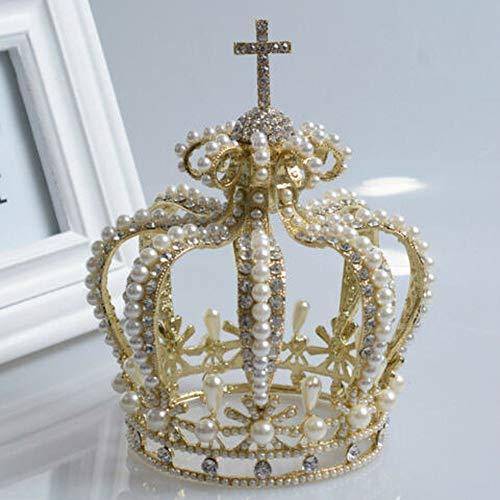 Tiara, Krone, 15 cm hoch, Kristall, für Hochzeit, Brautparty, Festzug, Abschlussball, goldfarben