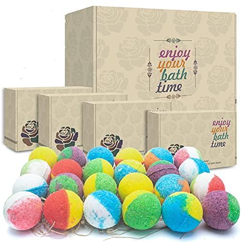 24 Organic & Natural Bath Bombs, Handmade Bubble Bath Bomb Gift Set, Rich...