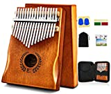 Kalimba Thumb Piano 17 Keys, Portable Mbira Finger Piano w/Protective Case, Fast to Learn Songbook, Tuning Hammer, All in One Kit (17keys, Natural)
