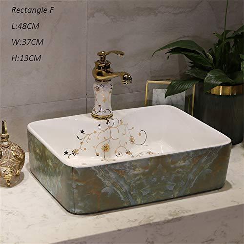 Lavabo, Céramique Blanche, Robinet de Style Nordique Salle de Bain Rectangulaire Rectangle Évier Au-dessus du Bassin de Comptoir (Couleur : F)