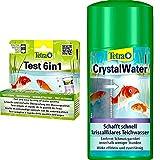 Tetra Pond Test 6in1 (Teststreifen zur Bestimmung von 6 wichtigen Wasserwerten), 1 Dose (25 Streifen) & Pond CrystalWater (für kristallklares Wasser im Gartenteich), 500 ml Flasche