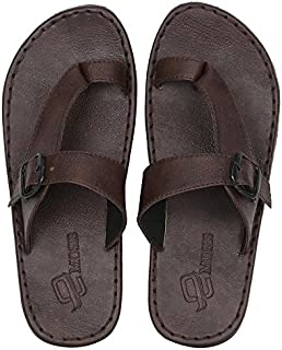 Emosis Men's Slipper Cum Sandal - Latest & Stylish Synthetic Leather - for Outdoor Formal Office Casual Ethnic Daily Use - Available in Tan Brown Black Color - 0221M