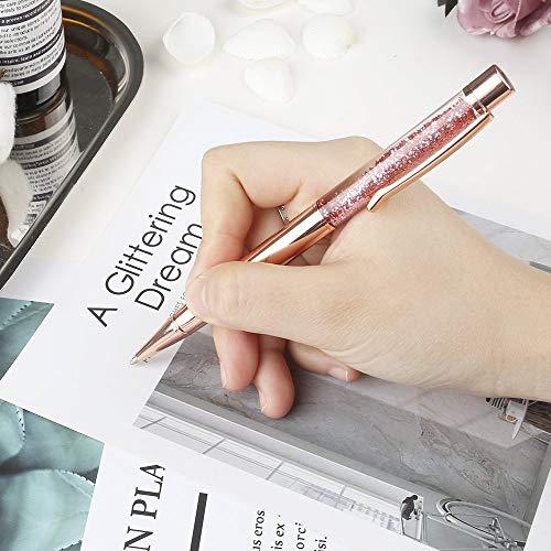 Ballpoint Pens, BYSOU 10 Pcs Rose Gold Metal Pen Refills Bling Dynamic Liquid Sand Pen Black Ink for Office Supplies (10 pieces) Photo #5