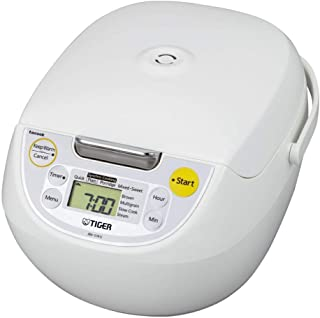 Tiger JBV-S18U Microcomputer Controlled 4 in 1 Rice Cooker, 10 Cups Un-Cooked, White (10-Cup)