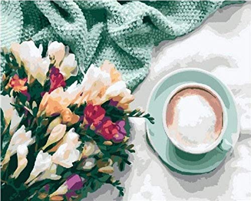 Pintura por números para niños y adultos kit de pintura de bricolaje para principiantes pintura al óleo lienzo de lino preimpreso (sin marco) - una taza de café con un ramo de flores