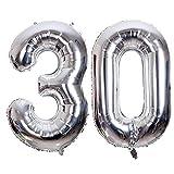 Globo 30 Años, Ouinne 40 Pulgadas Globo del Cumpleaños Número 30 Helio Globos para La Decoración Boda Aniversario (Plata)