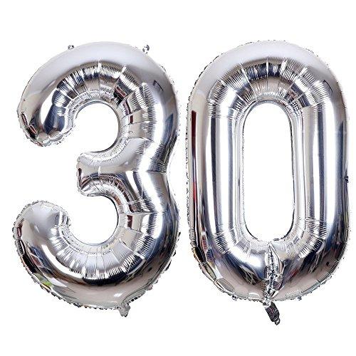 Ouinne Ballon Zahl 30, Helium Folie Luftballon 30 Geburtstag Folienballon Geburtstag Dekoration Set Riesen Folienballon Fur Party