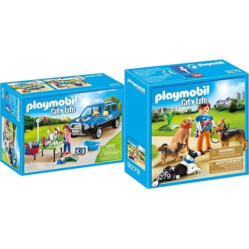 Playmobil 9278 - Mobiler Hundesalon Spiel &  9279 - Hundetrainer Spiel