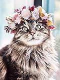 Cuadro de diamantes de gato bordado de flores Kit de punto de cruz de animales cuadro de mosaico de diamantes de imitación hecho a mano pintura de diamantes A13 40x50cm