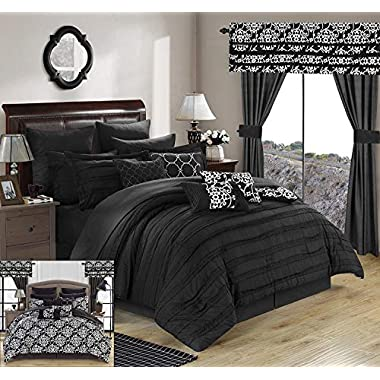 Chic Home Hailee 24 Piece Comforter Set Complete Bed in a Bag Pleated Ruffles and Reversible Print with Sheet Set and Window Treatment, Queen, Black