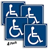 iSYFIX Handicap Signs Stickers Decal Symbol - 4 Pack, 6x6 inch - ADA Compliant - Disable Wheelchair Sign, Disability Sticker, Premium Self-Adhesive Vinyl, Laminated, Indoor & Outdoor