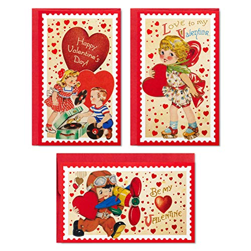 Hallmark Mini Valentines Day Cards Assortment, 12 Cards with Envelopes (Vintage, Be My Valentine)