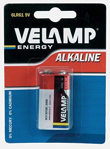 Velamp 6LR61/1BP Blister di 1 pila alcalina 6LR61 Transistor 9V, Rosso